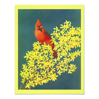"RED CARDINAL ON FORSYTHIA FLOWERS Party Invitation 4.25"" X 5.5"" Invitation Card"