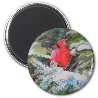 Red Cardinal on Snow Covered Bough 2 Inch Round Magnet