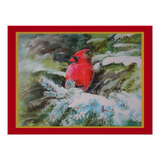 Red Cardinal on Snow Covered Bough Poster