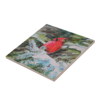 Red Cardinal on Snow Covered Bough Small Square Tile