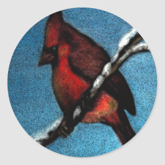 Red Cardinal on Snow Covered Tree Branch Classic Round Sticker