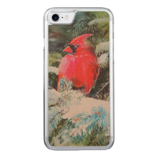 Red Cardinal on Snowy Bough Carved iPhone 8/7 Case