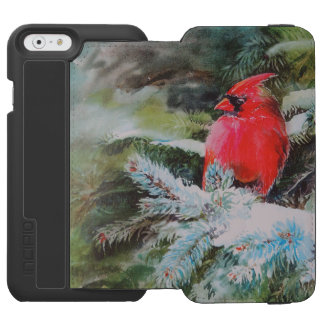 Red Cardinal on Snowy Bough iPhone 6/6s Wallet Case