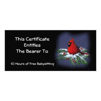 Red Cardinal on Snowy Branch: Gift Certificate Rack Card
