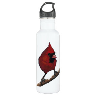 Red Cardinal on Snowy Branch: Oil Pastel Freehand Stainless Steel Water Bottle