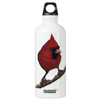 Red Cardinal on Snowy Branch: Oil Pastel Freehand Water Bottle
