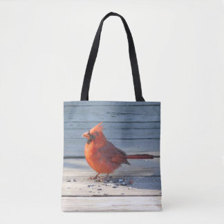 Red Cardinal on Wood Bridge Tote Bag
