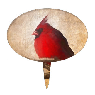 Red Cardinal Painting Cake Topper