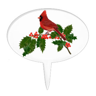 RED CARDINAL PERCHED ON HOLLY CAKE TOPPER