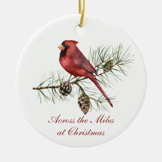 Red Cardinal Pine Cones Across The Miles Christmas Ceramic Ornament