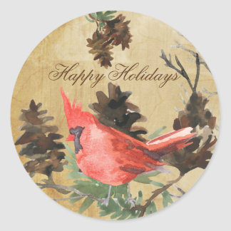 Red Cardinal Pine Cones Christmas Holiday Stickers