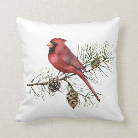 Red Cardinal Poinsettia Holly Pine Cones Throw Pillow