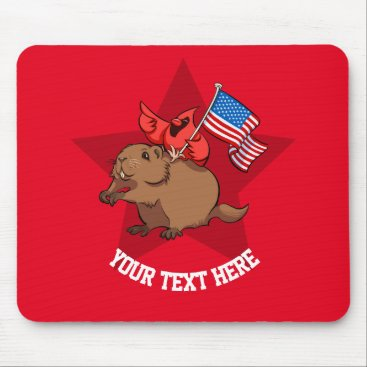 Red Cardinal Riding a Groundhog with American Flag Mouse Pad