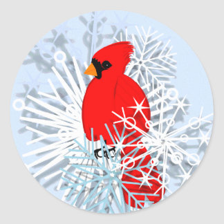 Red Cardinal & Snow flakes Classic Round Sticker