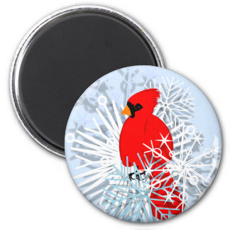 Red Cardinal & Snow flakes Magnet