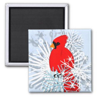 Red Cardinal & Snow flakes Refrigerator Magnet