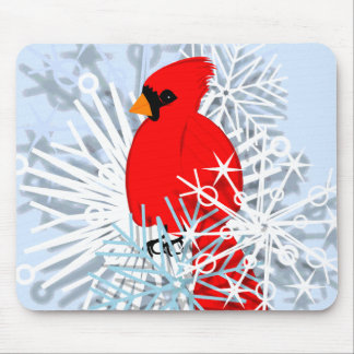 Red Cardinal & Snow flakes Mouse Pads