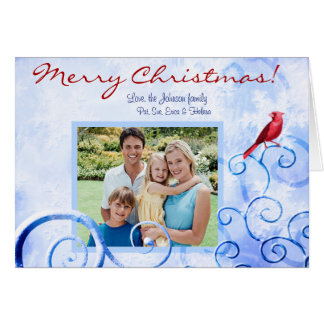Red Cardinal & Swirls: Custom Photo Christmas Card