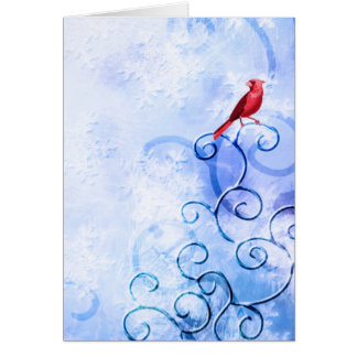 Red Cardinal & Swirls: Cute Winter Bird Cards