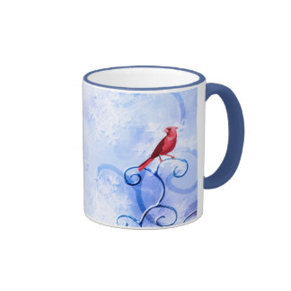 Red Cardinal & Swirls: Cute Winter Bird Coffee Mug