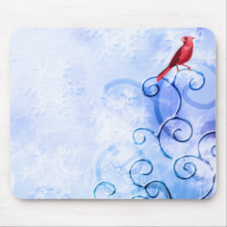 Red Cardinal & Swirls: Cute Winter Bird Mouse Pad