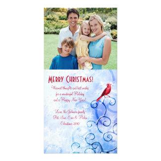 Red Cardinal & Swirls: Family Photo Christmas Card