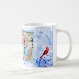 Red Cardinal & Swirls: Photo Christmas Mug