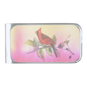 Red Cardinal Watercolor Painting Silver Finish Money Clip