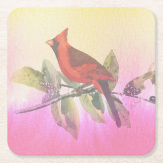Red Cardinal Watercolor Painting Square Paper Coaster