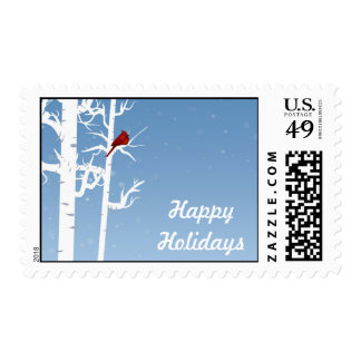 Red Cardinal, White Birch Postage Stamp