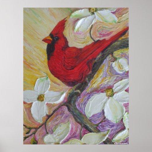 Red  Cardinal & White Dogwood Canvas Print