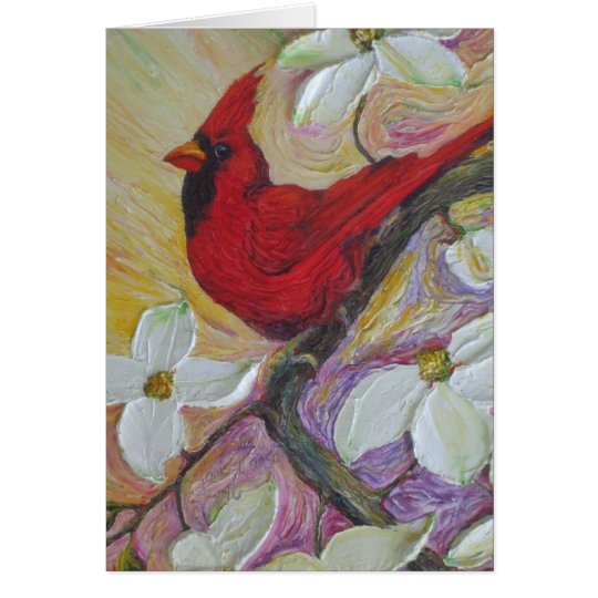Red  Cardinal & White Dogwood Note Card