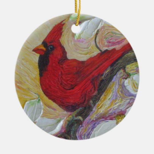 Red  Cardinal & White Dogwood Ornament