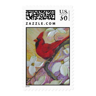 Red  Cardinal & White Dogwood Postage Stamp