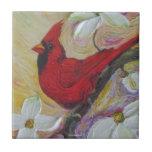 Red Cardinal & White Dogwood Tile