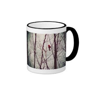 red cardinal -winter scene ringer coffee mug