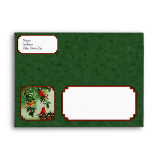 Red Cardinals and Holly Green Envelope