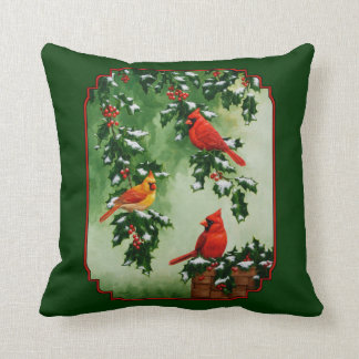 Red Cardinals and Holly Green Pillow