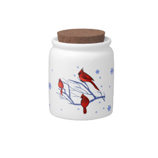 Red Cardinals. Christmas Gift Candy Jar