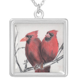 Red cardinals - hand drawn square pendant necklace