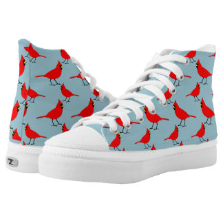 Red Cardinals on Blue High-Top Sneakers