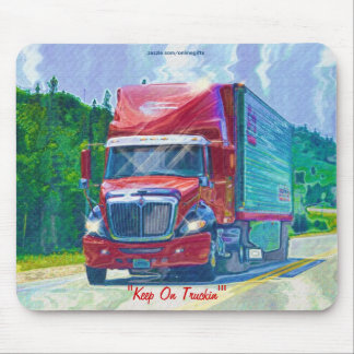 Red Cargo Truck 2 Highway Driving Art Mousepad