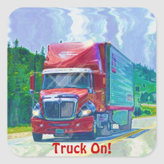 Red Cargo Truck Big Rig Driver Sticker Series