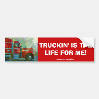 RED CARGO TRUCK BIG RIG TRUCKERS Bumper Sticker