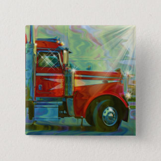 RED CARGO TRUCK BIG RIG TRUCKERS Button