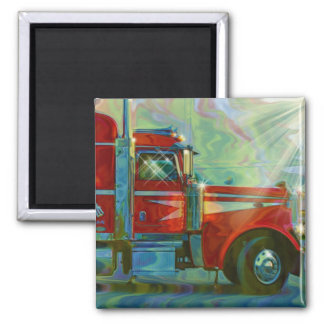 RED CARGO TRUCK BIG RIG TRUCKERS Magnet
