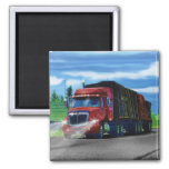 Red Cargo Truck Driver Gift Magnet