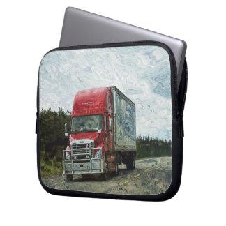 Red Cargo Truck Driver's Art Laptop Sleeve