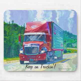 Red Cargo Truck Highway Driving Art Mousepad