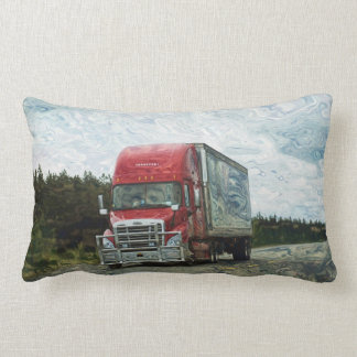 Red Cargo Truck North American Highway Art Pillow